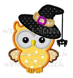Hey, I found this really awesome Etsy listing at https://www.etsy.com/listing/198099122/halloween-witch-owl-with-hat-applique