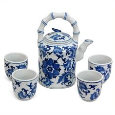 Oriental Furniture Floral Tea Set ($49) ❤ liked on Polyvore featuring home, kitchen & dining, teapots, oriental tea set, tea table, tea pot, asian tea table and oriental tea table