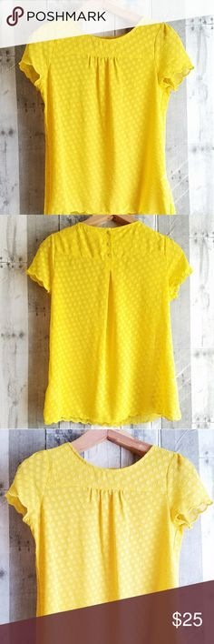 EUC ANTHROPOLOGIE MAEVE yellow blouse EUC ANTHROPOLOGIE MAEVE yellow blouse with puckered dot detail and scalloping along the hem. Such an adorable blouse! Anthropologie Tops Blouses