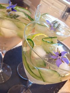 Gin, elderflower and cucumber cocktail with borage