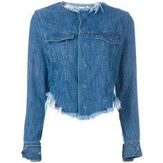 Marques'almeida frayed denim jacket (£538) ❤ liked on Polyvore featuring outerwear, jackets, blue, denim jackets, long sleeve jean jacket, jean jacket, cropped jacket and blue jackets