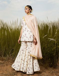 Buy Ivory Pushp Vesh Kurta Set by KHARAKAPAS Available at Ogaan Online Shop Sajid Khan, Rohit Bal, Indian Crafts, Sharara, Floral Shorts, Indian Fashion, Kurti, Color Pop, Hand Weaving