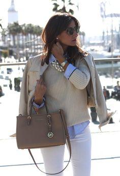 Soft Winter , Zara in Sweaters, Mango in Shirt, Uterqüe in Jackets, Zara in Pants, Michael Kors in Bags-- EVERYTHING minus the MK bag..!