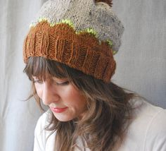 Withers Adult Unisex knit hat toque scallop pompom by ideegeniale, $28.00