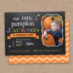 Items Similar To First Fall Birthday Invitation Little Pumpkin Theme Chalkboard And Chevron DIY Printable On Etsy