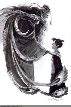 Dumbledore and Harry Potter Art. Dumbledore looks like the death from the Tale of the Three Brothers. Was this intentional. Fanart Harry Potter, Harry Potter Love, Harry Potter Fandom, Harry Potter Universal, Harry Potter World, Harry Potter Ilustraciones, Hogwarts, Yer A Wizard Harry, Fantastic Beasts