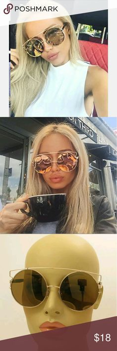 NEW Technologic Style Sunglasses Choose between  Green gold lens  Or  Light pinkish silver lens   Both have a gold frame  Big round circle glasses Accessories Sunglasses