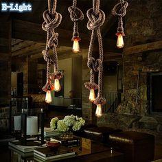 Seule ampoule / 2 ampoule personnalité créatrice corde pendentif feux de Vintage Restaurant lampe salle à manger lampes pendentif corde de chanvre lumière