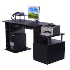 Mesa de Ordenador PC Oficina Estudio Escritorio Madera 152x60x88cm Negro NUEVO