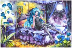 painting anime girl with moon watercolour - Hledat Googlem