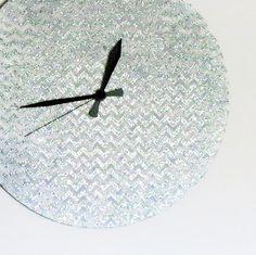 Unique Wall Clock Glitter Wall Clock Silver Chevron by Shannybeebo