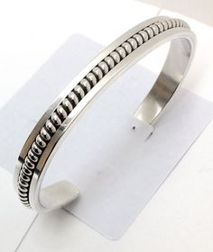 Sterling Silver Native American Navajo Indian Cuff Bracelet C032503. Signed Tahe