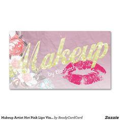 Makeup Artist Hot Pink Lips Vintage Floral Modern Double-Sided Standard Business Cards (Pack Of 100)