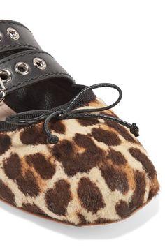 Miu Miu - Lace-up Leather-trimmed Leopard-print Calf Hair Ballet Flats - Leopard print - IT39.5