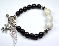 Moonstone Onyx Charm Bracelet with Angel by iyildiz on Etsy, $22.00