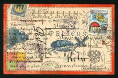 Original artwork by Nick Bantock, Author/Artist known worldwide for his bestselling 'Griffin and Sabine' books. Postcard Art, Mail Art, Art Journal Prompts, Book Art, Small Art, Paper Art, Envelope Art, Altered Art, Mixed Media Art Journaling