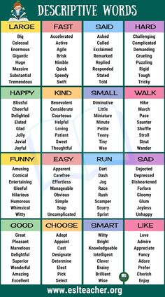 Learn english vocabulary - List of Descriptive Words Adjectives, Adverbs and Gerunds in English – Learn english vocabulary Essay Writing Skills, Book Writing Tips, English Writing Skills, Writing Words, English Lessons, Improve English Writing, English Tips, Writing Workshop, Teaching Writing