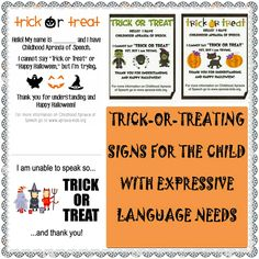 Let's Talk Speech & Language: Trick or Treating with Children Who Have Expressive Language Needs