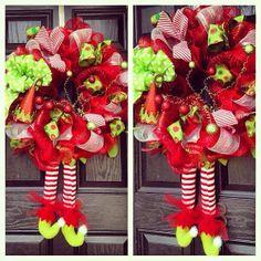 Elf Legs // Elf Hat // Deco Mesh Wreath // Christmas // Red // Lime Green on Etsy, $125.00