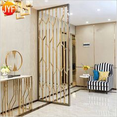 Brass PVD brushed stainless steel decorative screen laser cut wall panel for hotel restaurant decora Living Room Partition Design, Room Partition Designs, Partition Ideas, Partition Screen, Divider Screen, Stainless Steel Screen, Decorative Screens, Studio Apartment Decorating, Metal Screen