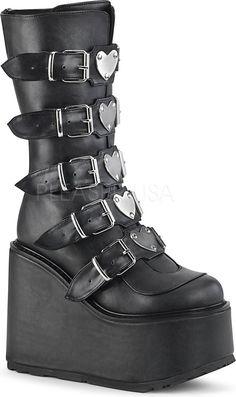 339e5f80606c Demonia Shoes - SWING-230 Black Vegan Leather Halloween Music