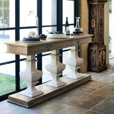 Weathered white oak console with stone pedestals console table desk furniture & 44 best Media cabinets u0026 Consoles Tables images on Pinterest ...