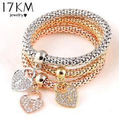 Find More Chain & Link Bracelets Information about 2016 Gifts 3Pcs Gold Filled Heart Charm Elastic Bracelets For Women Pulseras Bracelet Cute Multilayer Bangles pulseira feminina,High Quality charm anklet,China charms for charm bracelets suppliers Suppliers, Cheap bracelet tibet from Crystal shop(min,order $10) on Aliexpress.com