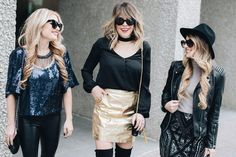 Blogger Lindsey Lutz from Life Lutzurious, Laura Beverline from Styled Adventures, and Christian Buck from Christian Blair Styles show you three ways to rock your holiday sparkle