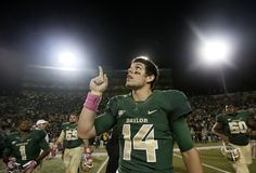 Baylor quarterback Bryce Petty (14) points to the sky following an NCAA college football game against Iowa State, Saturday, Oct. 19, 2013, in Waco, Texas. Baylor won 71-7. (AP Photo/Tony Gutierrez)