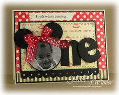 """handmade birthday card ... from The Spotted Chick blog ... super cute and super creative ... one-year-old birthday ... face of the toddler in the O ... the """"O"""" decorated with two big round circles and a polka dot bow ... Minnie Mouse!! ... luv the patterned papers ... ompu sewn look ... great card!!"""