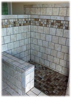 "For the garage - What a great tiled dog shower. I especially like the ""back-saver"" seat for the bather and the dog paw tiles for the ""bathe-e. Metal Barn Homes, Metal Building Homes, Pole Barn Homes, Dog Washing Station, Barndominium Floor Plans, Pole Barn House Plans, Dog Rooms, Dog Shower, Metal Buildings"