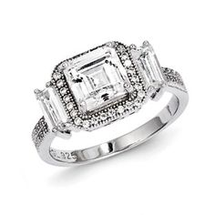 .925 Sterling Silver Square CZ Engagement Ring Sterling Silver CZ Jewelry Available Exclusively at Gemologica.com