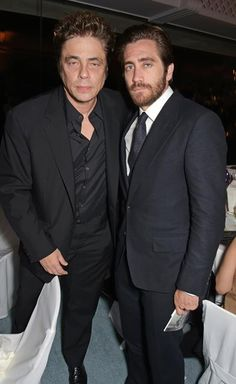 CANNES, FRANCE, Benicio del Toro and, Jake Gyllenhaal attends as Charles Finch hosts his annual Filmmakers Dinner and photographic exhibition in celebration of 'The Art of Behind The Scenes', in partnership with Jaeger le-Coultre, at Hotel du Cap-Eden-Roc on May, 2015 in Cap d'Antibes, France.