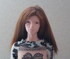 Brown Alpaca Wig for FID Iplehouse and similar size dolls head
