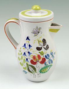 Vardus Art & Antiques - Jug with lid - Faience Ceramic Clay, Porcelain Ceramics, Ceramic Pottery, Pick Art, Stig Lindberg, Plant Art, How To Make Tea, Ceramic Design, Chocolate Pots