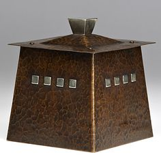 KARL KIPP and DARD HUNTER; ROYCROFT; Rare hammered copper and silver humidor; Literature: Kevin McConnell, More Roycroft Art Metal, 1995, Cover; Orb and Cross mark; 6'' x 5'' sq.