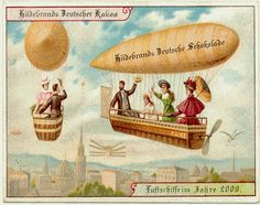 Love everything about illustrations from this era. 12 Predictions for the Year 2000 from a German Chocolate Company Vintage Ephemera, Vintage Postcards, Machine Volante, What A Nice Day, Future Predictions, Polo Norte, Steampunk, Chocolate Company, German Chocolate