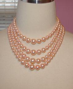 Vintage Pink Pearl Necklace 4 Strands Choker by bettysworld4u, $14.00
