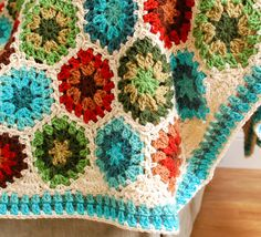 Granny Hexagon Crochet Edging  fills in the spaces between your hexagons as you work around your afghan!