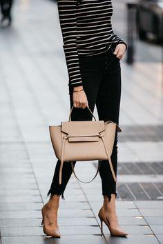 Fashion Jackson Nordstrom Black White Striped Sweater Black Skinny Jeans Nude Pumps Celine Mini Belt Bag