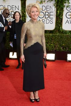 Emma Thompson in vintage Lanvin at the Golden Globes 2014: Red-Carpet Arrivals. After the martini in one hand and the Louboutins in the other she just became my own personal hero.