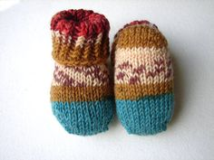 Newborn baby socks salmon olive green and brown by TinyOrchids