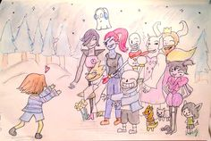 "A drawing of mine, ""welcome home frisk!"" Please keep my credit, Grace Iris"