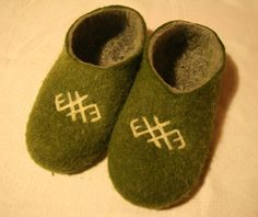 Handmade wool felted slippers with ancient Baltic by Stormshoes