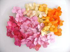Fondant Hydrangea Petals Decoration 75 qty - ivory, pinks, magentas, orange for cupcakes, wedding cakes