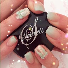 Mint bows and baby boomer style nail art using NSI Secrets Acrylic system!