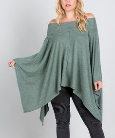 d8d87c0538a44 Layer up for fashion-forward statements year-round in this poncho with a  breezy hem and gathered neck that can also be worn off-shoulder.