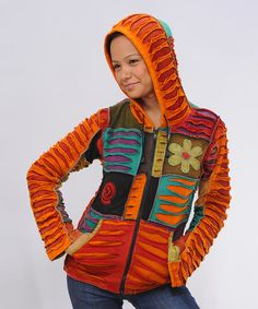 Take a look at this Orange & Red Patchwork Zip-Up Hoodie by Royal Handicrafts on #zulily today!