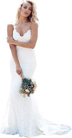 4893086257a79 Modeldress Womens Mermaid Lace Spaghetti straps Beach Wedding Dresses Bridal  MaxiA-WhiteUS12 at Amazon Women's