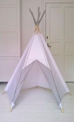 LittleNOMAD's pure white+grey dots teepee available here: littlenomad.pakamera.pl, direct order: hellolittlenomad@gmail.com #handmade #design #kidsroom #playtent #tipi #teepee #wigwam